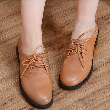 2 Colors 2016 New Handmade Fashion Leather Flat Shoes For Women, Casual Shoes, Soft Shoes,Oxfords&Tie Shoes,Women'S Brown Leather Shoes