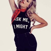 Wildfox Couture Double Dare Hey Sailor! Halter Tank in Clean Black
