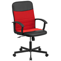 Flash Furniture Mid-Back Black Vinyl and Red Mesh Racing Executive Swivel Office Chair [CP-B301A01-BK-RD-GG]