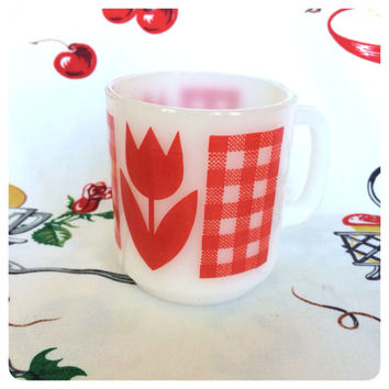 1960s Termocrisa Red Tulip  and Gingham Mug Milk Glass Cup Vintage Kitchen