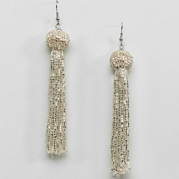 ASOS Silver Bead Tassel Earrings at asos.com