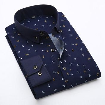 Men Button-Up  Polka Dot Floral Shirt