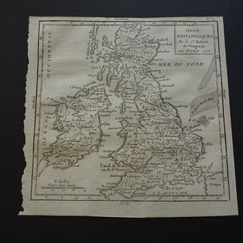 1793 British Isles antique map of England Ireland Original 200+ years old French print about UK Great Britain small vintage historical maps