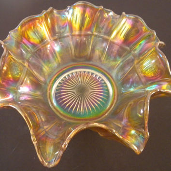 Amber/Yellow Carnival Glass Dish,  Carnival Glass Bowl, Amber, Blues, Reds and Greens