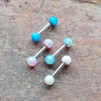 2 Sided Opal 316L Surgical Steel 16g, 16 gauge cartilage, tragus, helix barbell earring