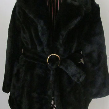 1920s 30s Jacket Black Teddy Bear Coat Union Made Clothing Black Faux Fur Coat Vegan Fur Jacket Art Deco Jacket