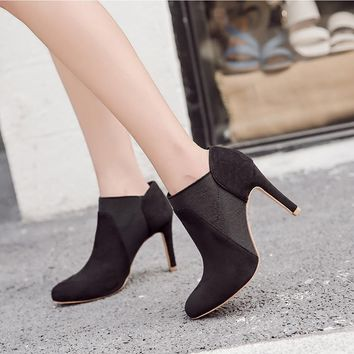 Patchwork Solid Color Pointed Toe Stiletto High Heels Short Boots