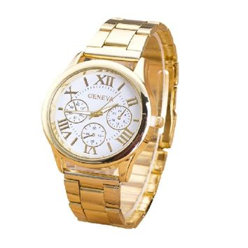Stainless Steel Classic Round Dial Gold Quartz Wrist watch