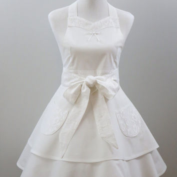 Women's Bridal or Hostess Apron, White, Full Double Layered Skirt, 100% Cotton and Nylon Lace