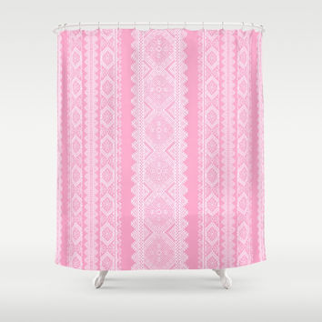 Ukrainian embroidery heavenly pink Shower Curtain by exobiology