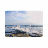 "Nick Nareshni ""Wave Against Rocks"" Brown Blue Memory Foam Bath Mat"