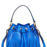 Milly 'Small Essex' Fringed Leather Bucket Bag