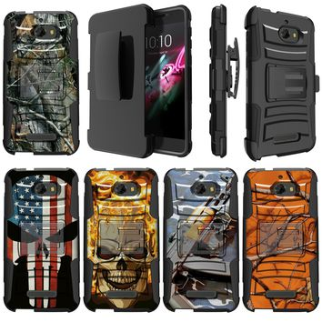 High Impact Hybrid Layer Belt-Clip Kickstand Combo Case Compatible with [CoolPad Defiant] Phone Case for Boys [ Skulls / Militar
