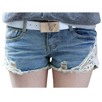 Summer Dress Lace Washed Women Shorts Korean Style Jeans