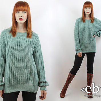 Oversized Sweater Oversized Knit Vintage 90s Seafoam Sweater S M L Oversized Jumper Green Sweater Vintage Pullover