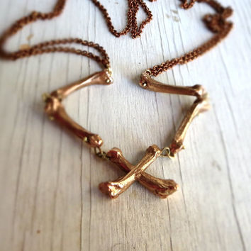 Golden Bones Skeleton Necklace Gothic Noir Punk Rock Art Jewelry Crossbones