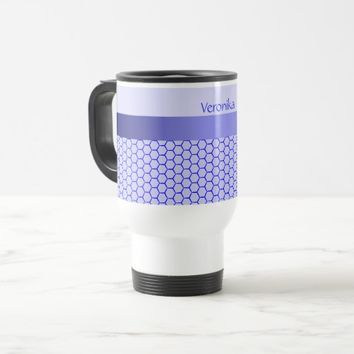 Blue pattern. Grid and silk band. Add your text. Travel Mug