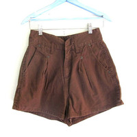 vintage brown denim shorts / High Waisted shorts / size 7