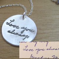 custom handwritten necklace in recycled silver momento necklace handwriting keepsake memorial jewelry