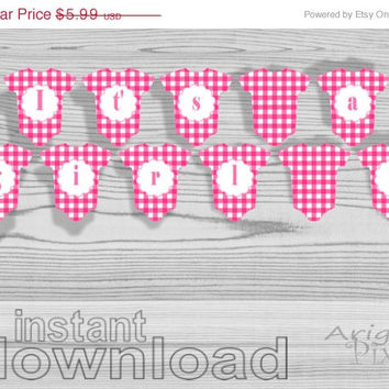 WEEKEND SALE 50% OFF It's a girl // printable pink baby cloth banner // baby girl shower // Diy party decoration // pink gingham // instant
