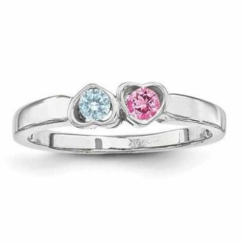 Heart Mounted Two Synthetic Birthstone Mother's Sterling Silver Personalized Family Jewelry Ring