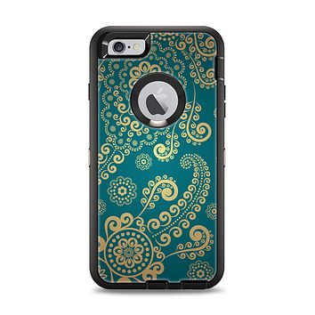 The Green & Gold Lace Pattern Apple iPhone 6 Plus Otterbox Defender Case Skin Set