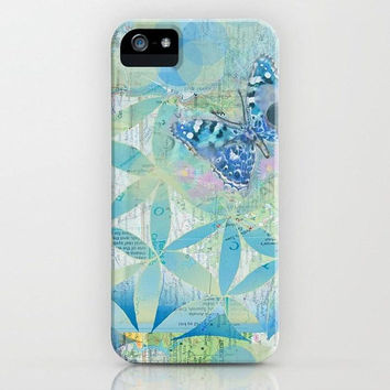 Blue Butterfly pattern phone case , iphone X 10 8 8 plus 7, 7 plus  Samsung, google pixel phone,  blue green
