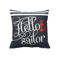 Hello Sailor! Retro Vintage Girly Nautical Throw Pillow from Zazzle.com