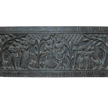 Indian Headboard Radha Krishna Carved Wood Headboards Antique Wall Panel