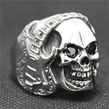 Stainless Steel Cool Silver Skull Rock & Roll Music Guitar Style Black CZ Ring