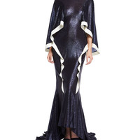 Esteban Cortazar Jewel-Neck Metallic Wing Gown, Navy