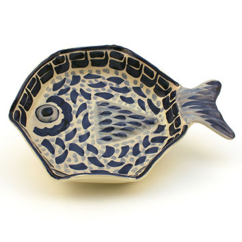 Blue & White Hand-Painted Pottery, Fish Dish