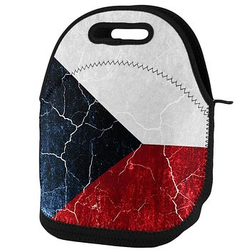 Czech Republic Flag Distressed Grunge Lunch Tote Bag
