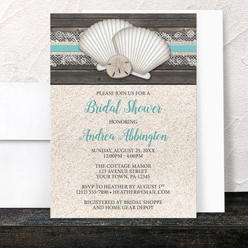 Beach Bridal Shower Invitations - Seashells Lace Rustic Wood and Sand Beach - Teal Turquoise Beige Brown - Printed Invitations