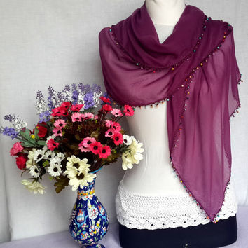 Burgundy Soft Elegant Cotton Turkish Scarf Shawl Christmas Gift For Holiday Winter Fashion Xmas Gift Idea Europeanstreetteam Craftoriteam