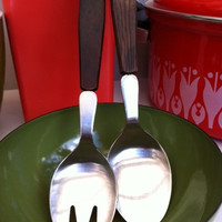 Fantastic, Danish, mid-century salad servers!! Teak and stainless steel. ReTrO KiTcHeN!!