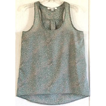 Forever 21 Feather Tank Top Mint Green Chiffon Semi Sheer Sleeveless Shirt S