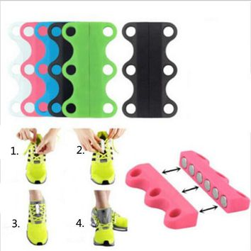 2PCs/ Pair Magnetic Shoes Closures No-Tie Lazy Shoelaces Innovative Casual Motion Magnetic Buckle Quickly Without Tying Shoelace