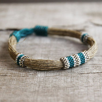 Tribal bracelet, Ethnic linen bracelet, Beadwoven seed beads jewelry, Natural gift for woman, 2014 jewelry trends, African jewellery