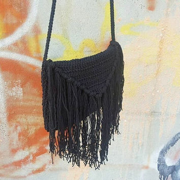 Summer Hippie Crochet fringe bag purse Cross-body Bag Crochet Beach bag Summer bag Cross body Purse Black Beach Summer Hobo Festival
