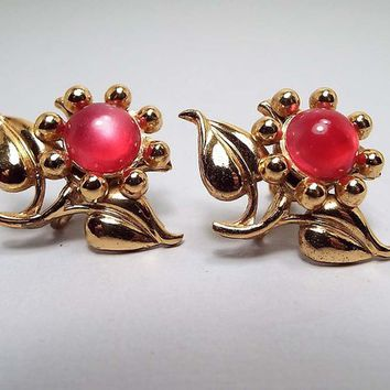 Gold Washed Sterling Vintage Pink Flower Earrings, Vermeil Screw Back, Mid Century 1960s 60s, Glass Faux Cats Eye