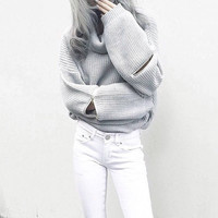 Turtleneck Zipper Sweater 13167
