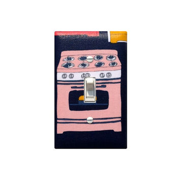 Retro Kitchen Stove Light Switch Plate Cover / Vintage 50s Pink Navy Blue Bakery Switchplate / Bake Julia Rothman