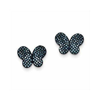 Sterling Silver Blue Diamond Butterfly Post Earrings