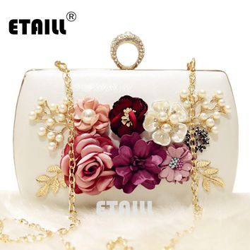 ETAILL New The Golden Chain The Appliques Pattern Flowers Wedding Dinner Bags Hot Hand Evening Bags Purses Clutch Box Package