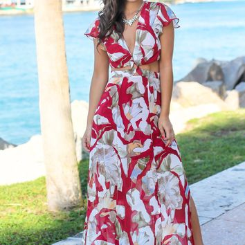 Red Printed Cut Out Maxi Dress