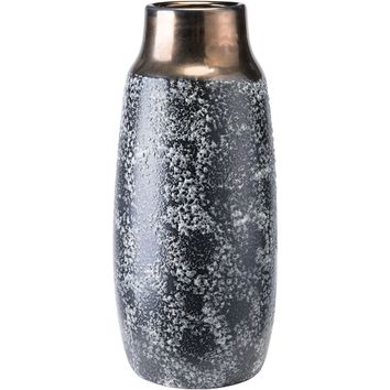 Black Ash Stoneware Metal Vase, Medium