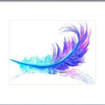 "ORIGINAL Watercolor Painting, Feather, 5x7"", 8x10"" Matted, turquoise blue, purple, fluffy"