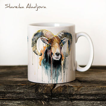 Ram Mug Watercolor Ceramic Mug Unique Gift Coffee Mug Animal Mug Tea Cup Art Illustration Cool Kitchen Art Printed mug