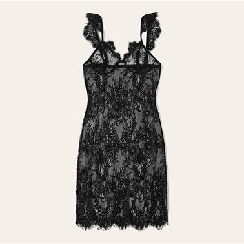 Black Sheer Lace Nightgown